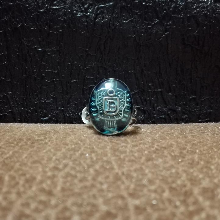 Blue Glassy Vampire Ring 1